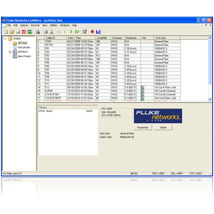 Fluke Networks LinkWare™ kábelteszt menedzser szoftver