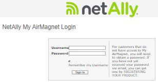 My AirMagnet login